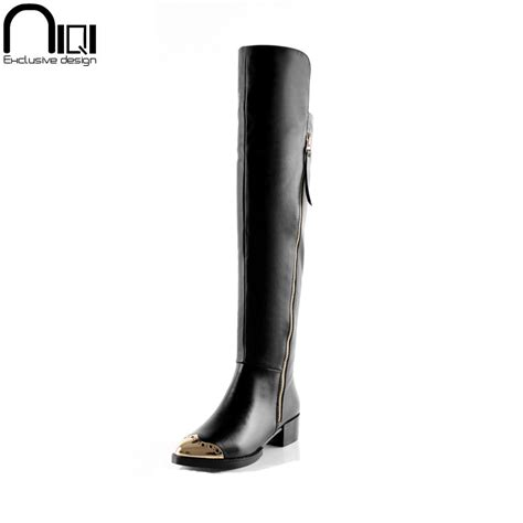 2014 genuine leather flat boots knee length boots