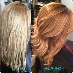 blonde and copper hairstyles before after from blonde to rich copper balayage my