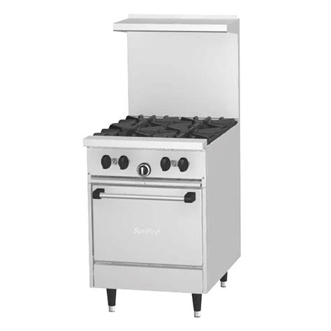 Stove With Oven garland sunfire series x24 4l 4 burner 24 quot gas range with space saver oven 145 000 btu