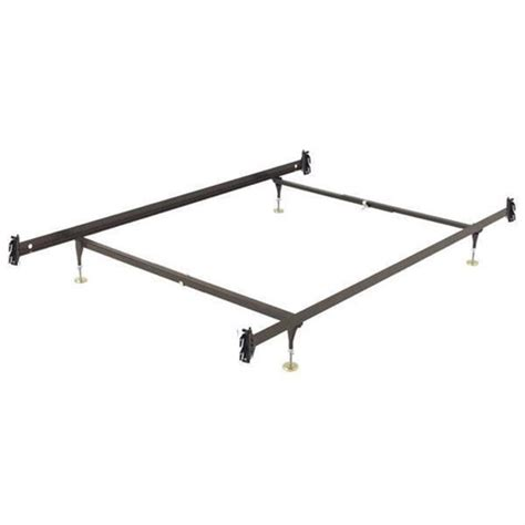 size metal bed frame with hook on headboard and