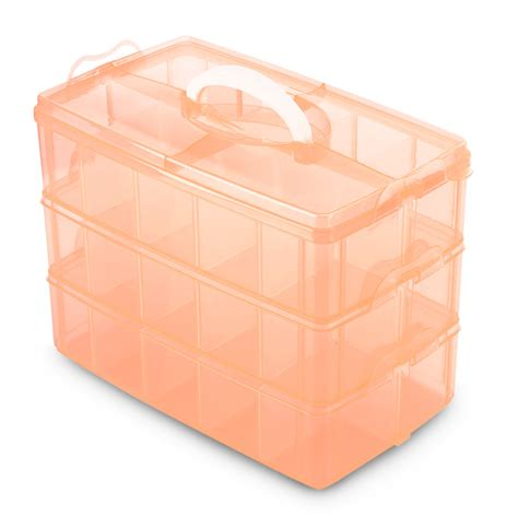 jewelry storage containers 30 grids clear plastic orange storage box for rings