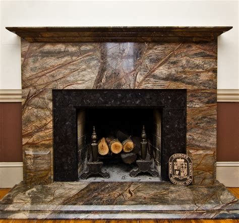 Brown Fireplace by Rainforest Green Granite Leathered Antique Brown Granite