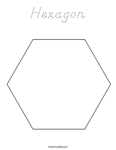 Hexagon Coloring Page D Nealian Twisty Noodle Hexagon Coloring Page