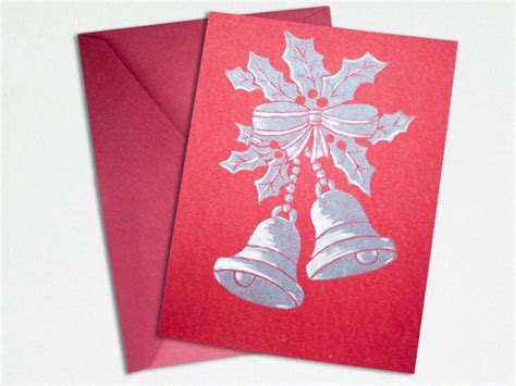 Lino Cut Cards by Linocut Card Silver Bells The Imagination Spot