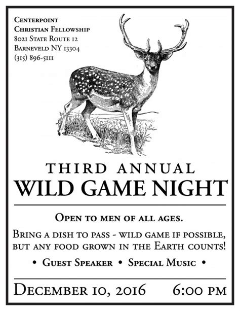 Wild Game Night 12.10.16 6pm - CenterPoint Christian