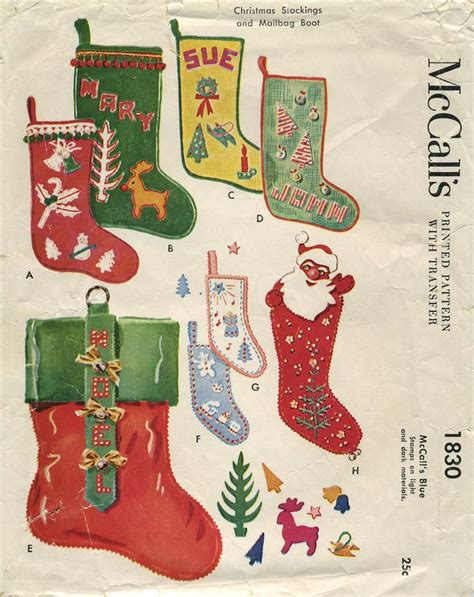 mccalls patterns for christmas stocking vintage christmas sewing pattern christmas stockings and