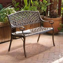 cast aluminum antique copper arched back bench outdoor