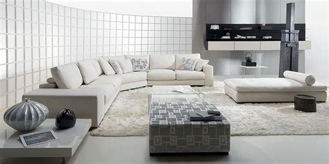 white sectional living room contemporary domino living room with white leather sofa