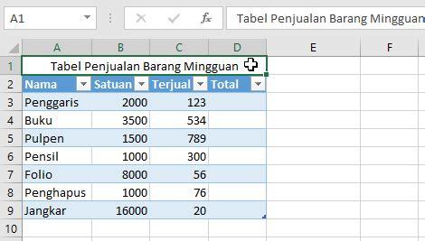 Cara Membuat Header Tabel Di Excel Tidak Bergerak | cara membuat tabel di excel dengan table tools dan contohnya