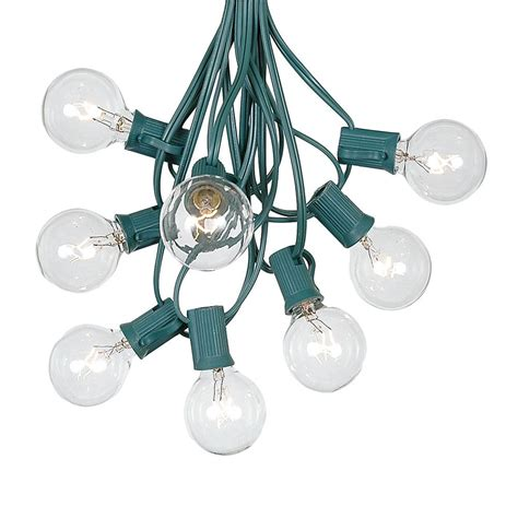 100 Clear G40 Globe Round Outdoor String Light Set On G40 Lights