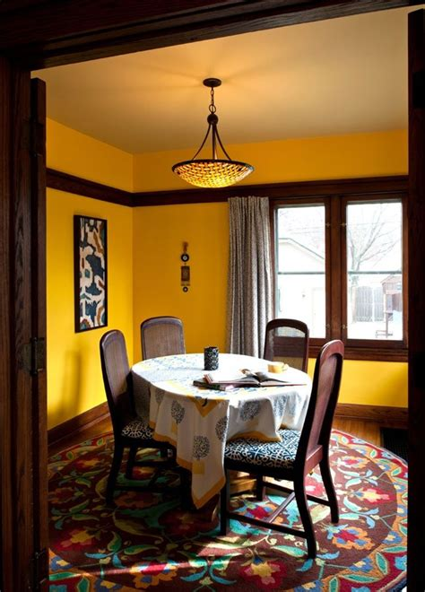 dark wood trim  bright yellow walls decor ideas