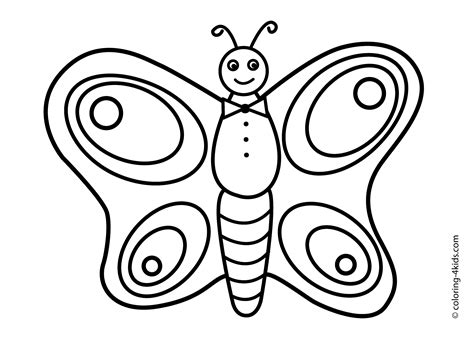butterfly drawing kids easy color pages coloring online