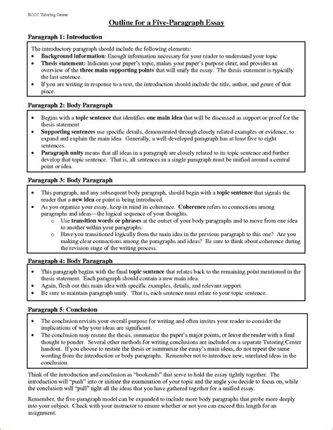 5 Paragraph Essay Outline by Essay Outlines Pdf