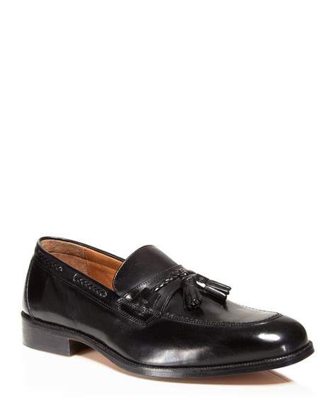 johnston and murphy loafers johnston murphy stratton tassel loafers in black lyst