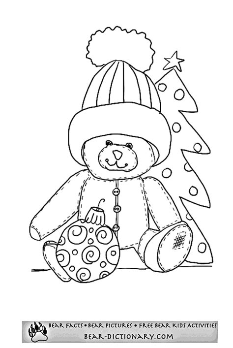 christmas bear coloring page coloring home