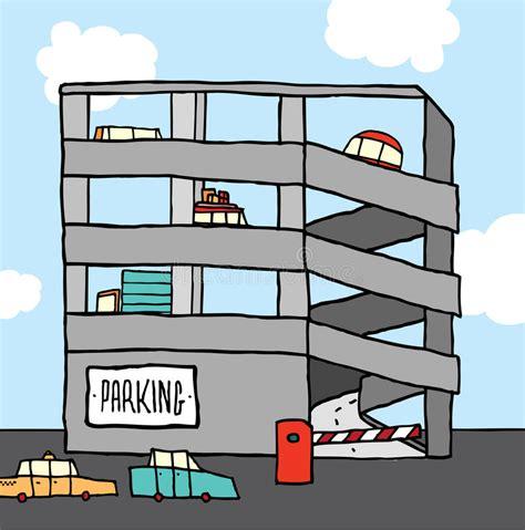 garage cartoon cars on parking garage stock illustration illustration of