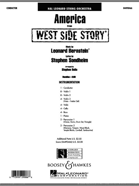 Sondheim - America (from West Side Story) sheet music for