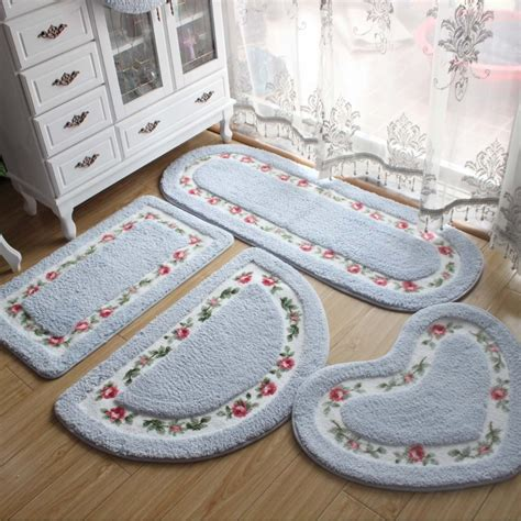 Stylish Bathroom Rugs Pastoral Style Bathroom Rug Tapete Para Banheiro Microfiber Bathroom Carpet Non Slip Pink Blue