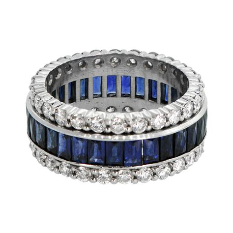 Vintage Sapphire and Diamond Wedding Band   Estate Diamond