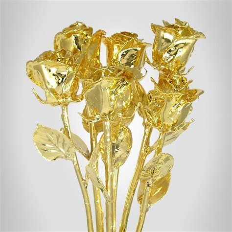 """Six 11"""" 24kt Dipped Real Rose Bouquet: Love Is A Rose"""