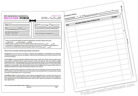 business form templates grooming receipts grooming business templates