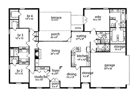 5 bedroom single story house plans floor plan 5 bedrooms single story five bedroom tudor