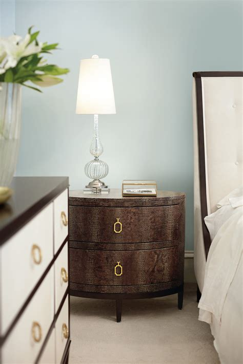 oval bedroom furniture jet set upholstered bed and oval nightstand and dresser
