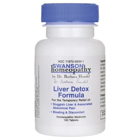 Liver Detox Formulas by Swanson Homeopathy Liver Detox Formula 100 Tabs Swanson