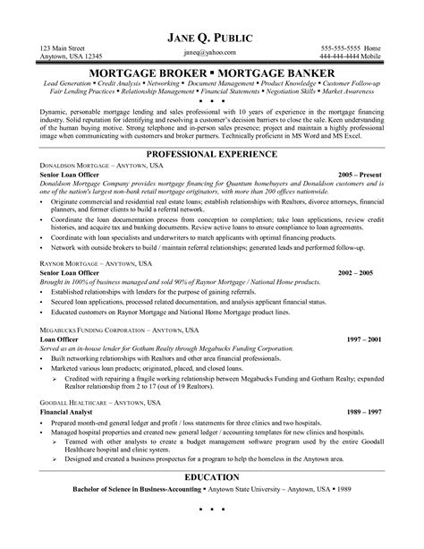 Mortgage Loan Officer Resume resume for loan officer resume ideas