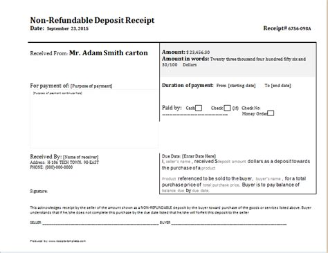 template receipt of deposit non refundable deposit receipt template receipt templates