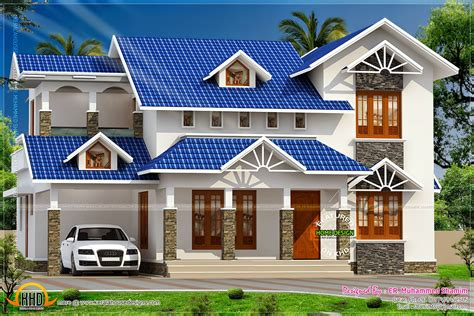 attic house design nice sloped roof kerala home design indian house plans