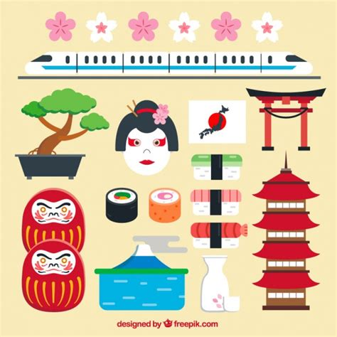 free design japan japanese elements in flat design vector free download