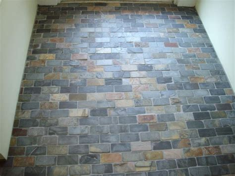 Foyer tile   small bricks of slate   For Designing my Home