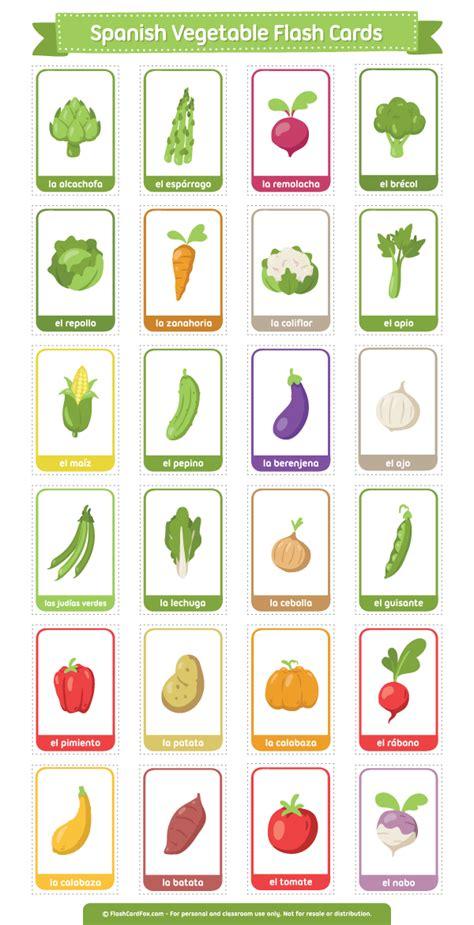 free printable spanish flashcards free printable spanish vegetable flash cards download the