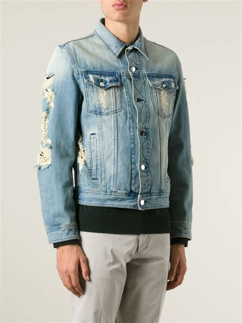 Distressed Denim lyst ami distressed denim jacket in blue for