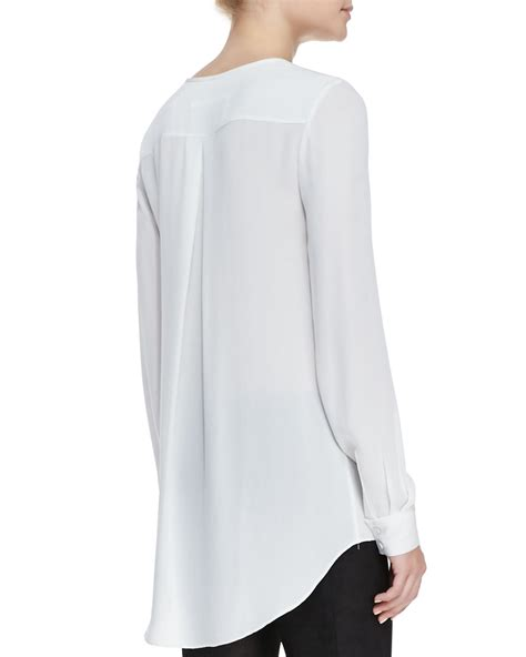 Tunic Blouse White lyst beard sleeve flowy tunic blouse in white