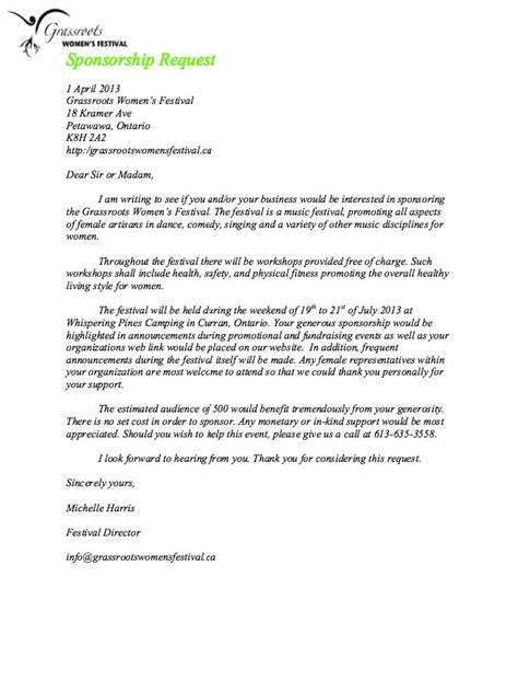 sponsorship request letter sample sponsorship letter