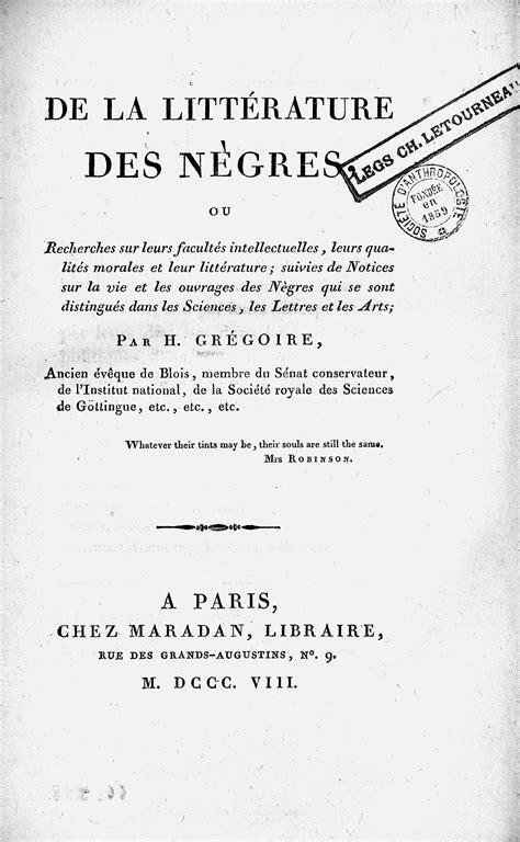 L'abbé Grégoire et la place des Noirs dans l'histoire