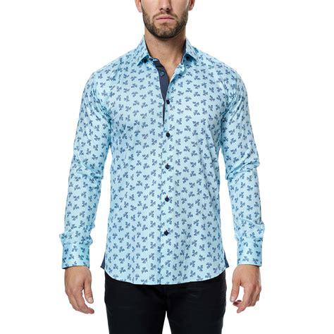 light blue button up paisley trio long sleeve button up shirt light blue