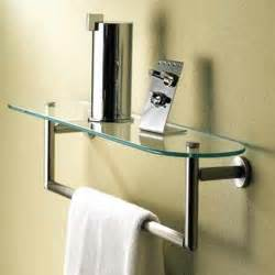 bathroom shelves with towel rack sine glass shelf towel bar by motiv apartment therapy