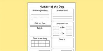 number of the day worksheet number display maths numeracy