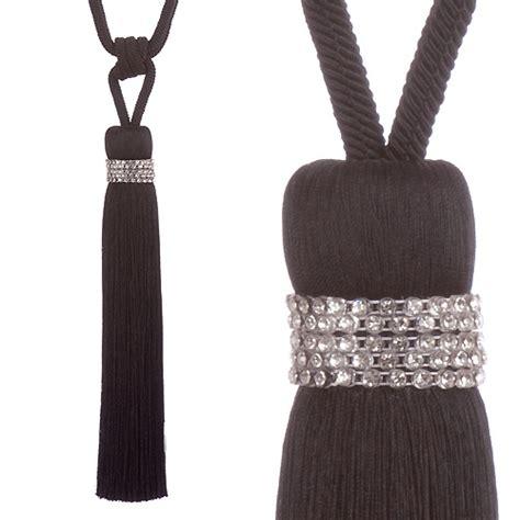black rope curtain tie backs jones tiffany rope curtain tie back black just sew