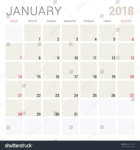 calendar 2018 year vector design stationery stock vector january 2018 calendar planner design template stock vector