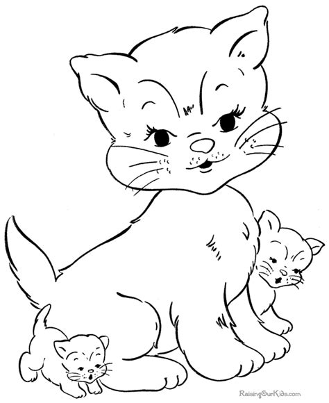 Cat And Kitten Coloring Pages cat and kitten coloring pages