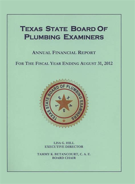 State Board Plumbing by State Board Of Plumbing Examiners Annual Financial