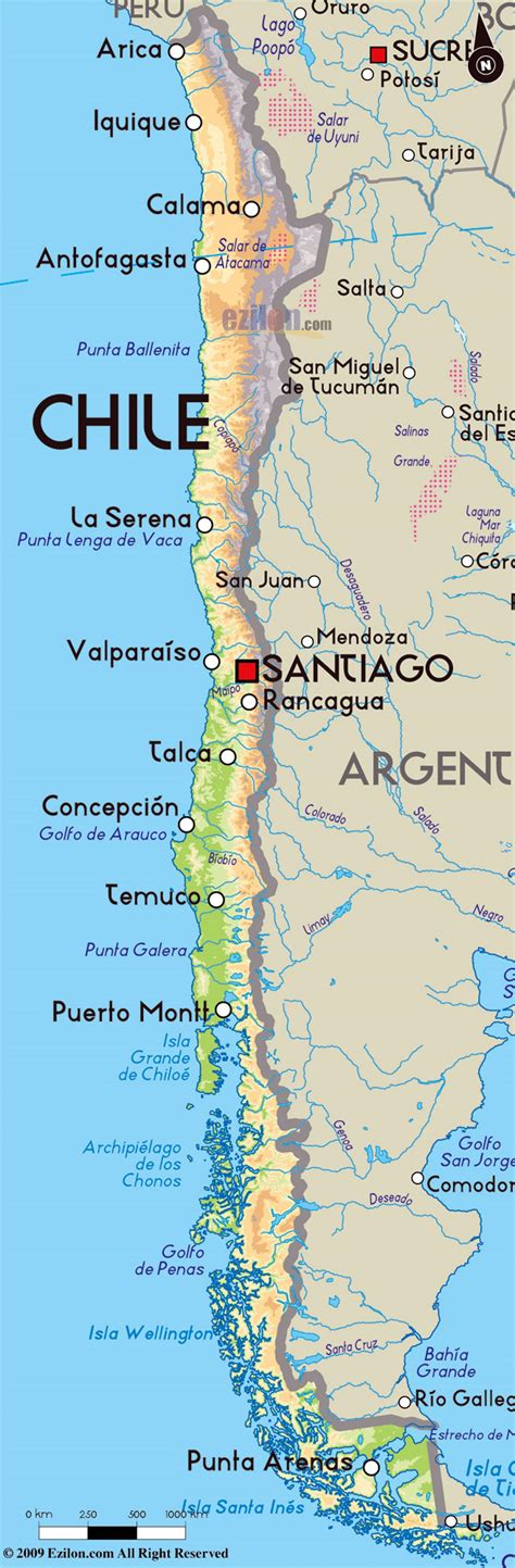 south america political map with major cities detailed physical map of chile with major cities chile