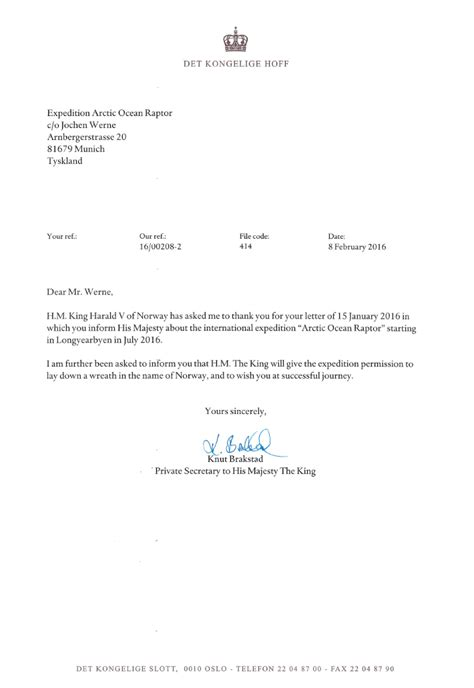 Permission Letter M H M King Harald V Of Expedition Arctic Raptor
