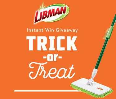 Instant Wins Sweepstakes - libman trick or treat halloween instant win sweepstakes