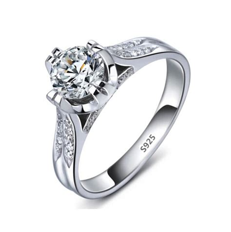 s925 wedding ring white gold plated engagement simulate