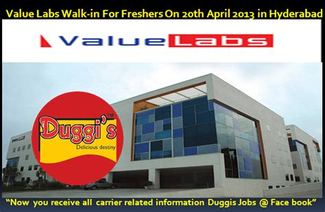 Walkins For Mba Freshers by Duggis Value Labs Walk In For Freshers On 20th April